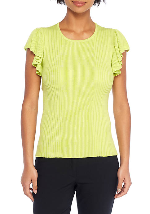 THE LIMITED Variegated Rib Flutter Sleeve Top