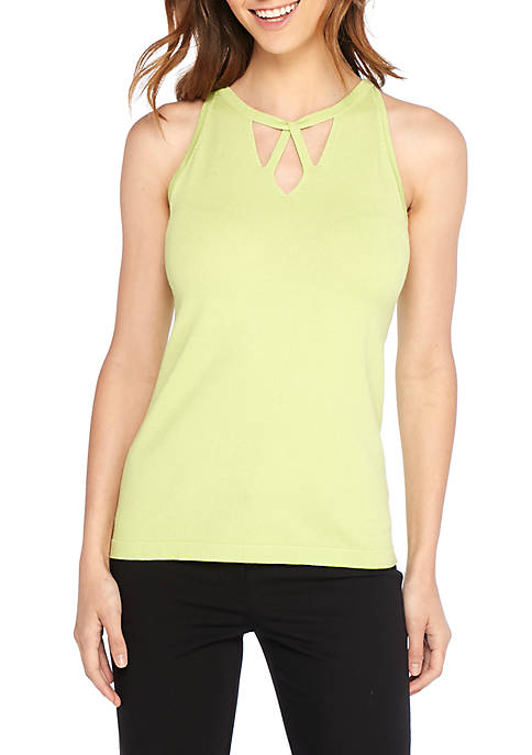 THE LIMITED Sleeveless Cross Neck Cutout Pullover Top