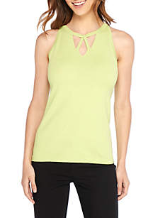 Sleeveless Cross Neck Cutout Pullover Top