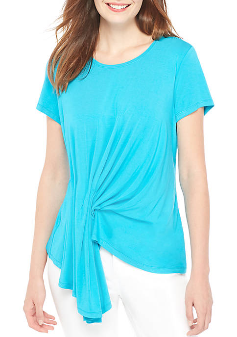 Short Sleeve Asymmetrical Drape Blouse