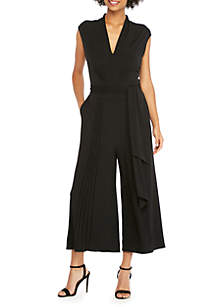 Sleeveless Pintuck Cropped Jumpsuit
