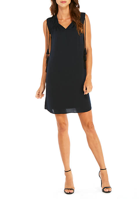 Sleeveless V-Neck Dress with Tassels