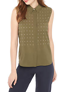 Sleeveless Blouse with Studs