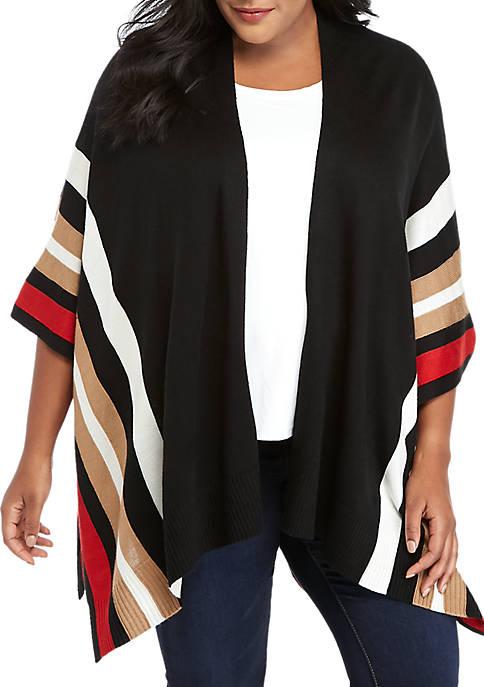 Plus Size Multi Stripe Poncho