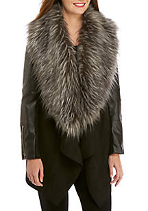 Faux Fur Vegan Leather Jacket