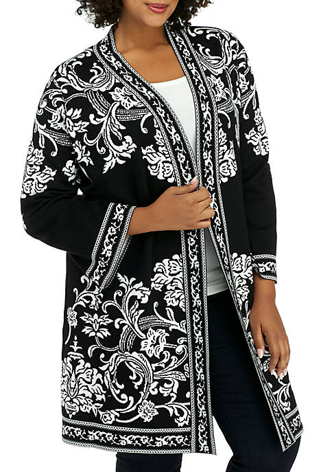 Plus Size Framed Medallion Jacquard Sweater Coat