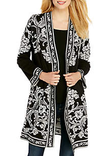 Framed Medallion Jacquard Sweater Coat