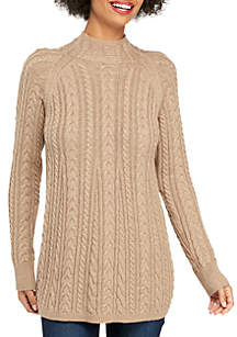 Long Sleeve Mock Neck Cable Knit Swing Sweater
