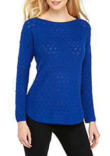 THE LIMITED Long Sleeve Bandeau Neck Novelty Stitch Pullover Sweater