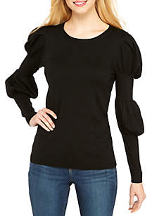 Long Sleeve Crew Neck Puff Sleeve Pullover Sweater
