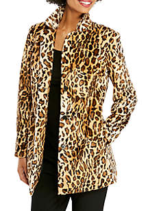 Cheetah Print Long Sleeve Notch Lapel Collared Jacket