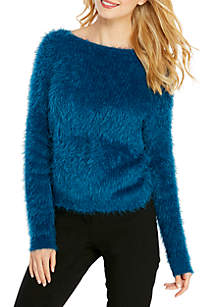 Solid Long Sleeve Fuzzy Sweater with Twist Detail
