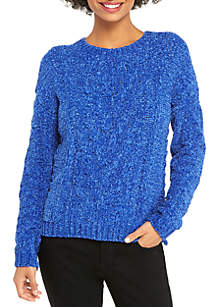 Petite Chenille Cable Front Pullover