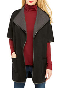 Poncho with Pleather Trim