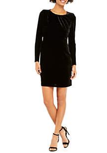 Seamed Velvet Dress