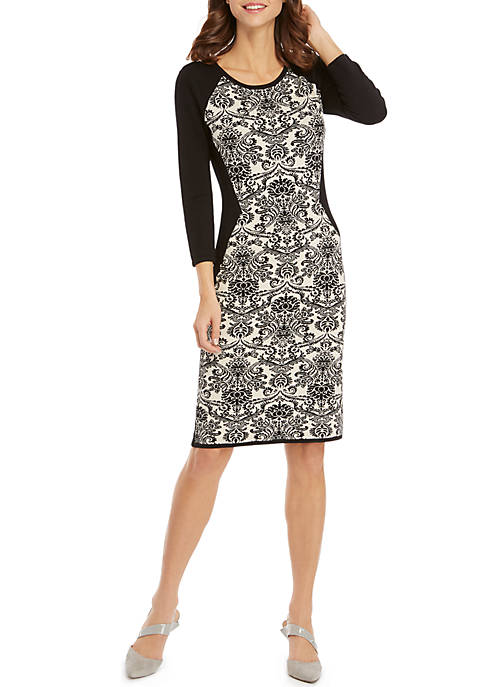 Floral Jacquard 3/4 Sleeve Crew Neck Sheath Dress