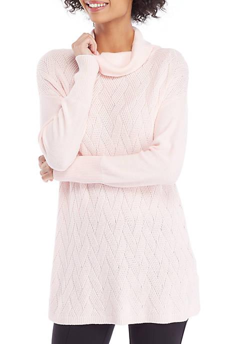 Funnel Neck Weave Stitch Pullover