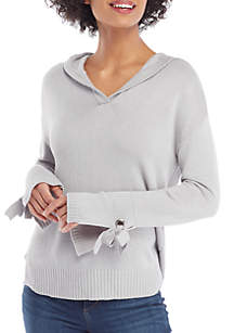 Hoodie Pullover with Wide Cuff Ribbon Ties