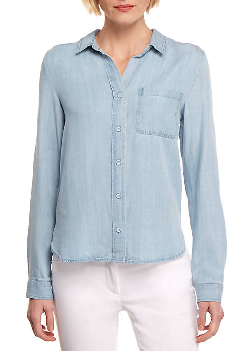Long Sleeve Button Front Pocket Chambray Top