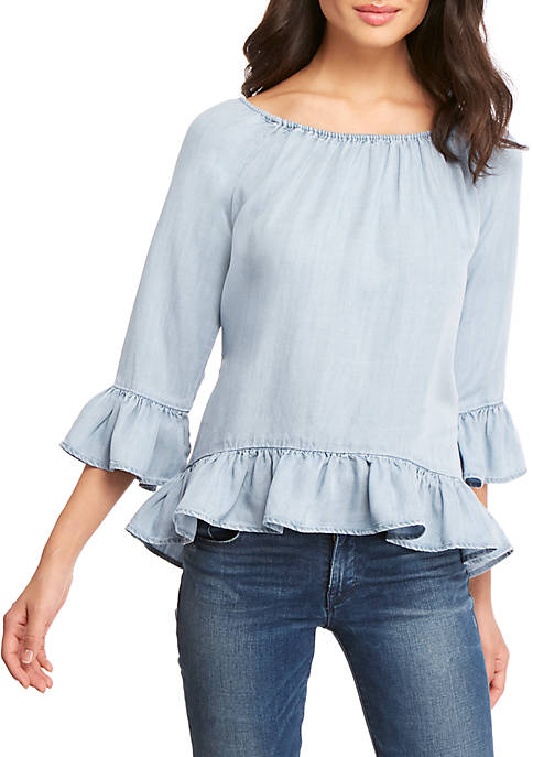 Off The Shoulder Ruffle Chambray Top