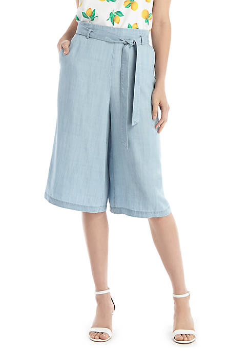 Chambray Cropped Culottes