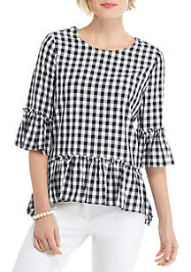 THE LIMITED Gingham Elbow Sleeve Tunic with Ruffle Trim