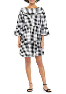 THE LIMITED Gingham 3/4 Ruffle Sleeve Boat Neck Dress