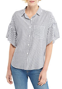 THE LIMITED Striped Short Ruffle Sleeve Button Front Top