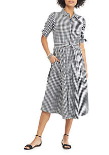THE LIMITED Gingham Short Bow Sleeve Belted Shirtdress