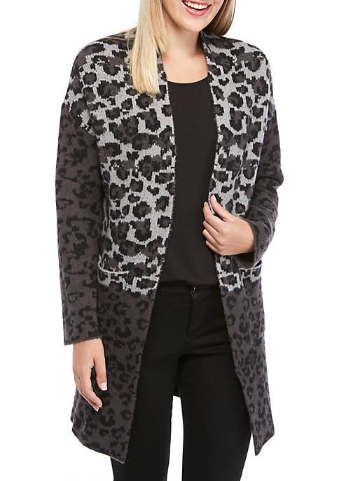 Womens Cozy Leopard Long Cardigan