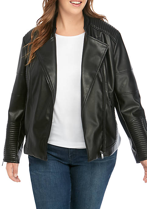 Plus Size Faux Leather Mandarin Collar Moto Jacket
