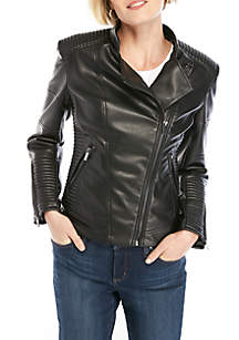 THE LIMITED Faux Leather Mandarin Collar Moto Jacket