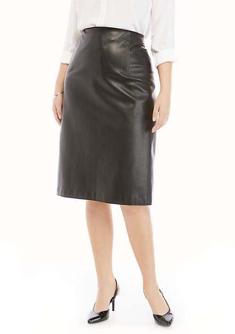 Plus Size Midi Faux Leather Skirt
