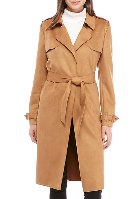Womens Faux Suede Trench Coat