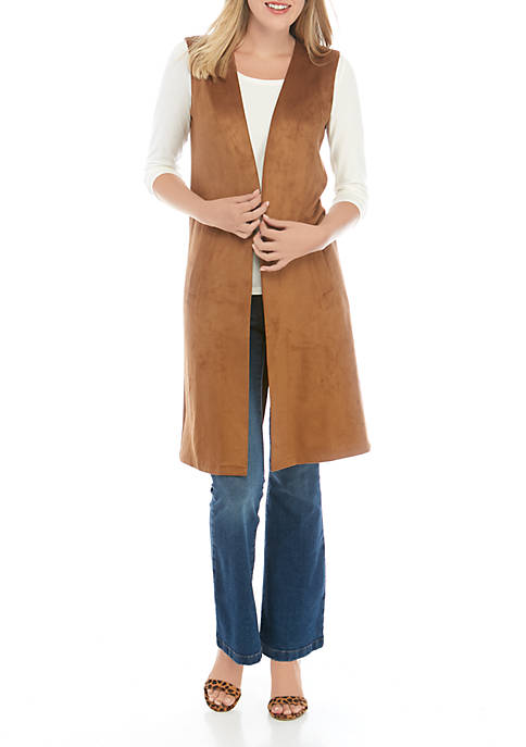 Long Faux Suede Duster Vest