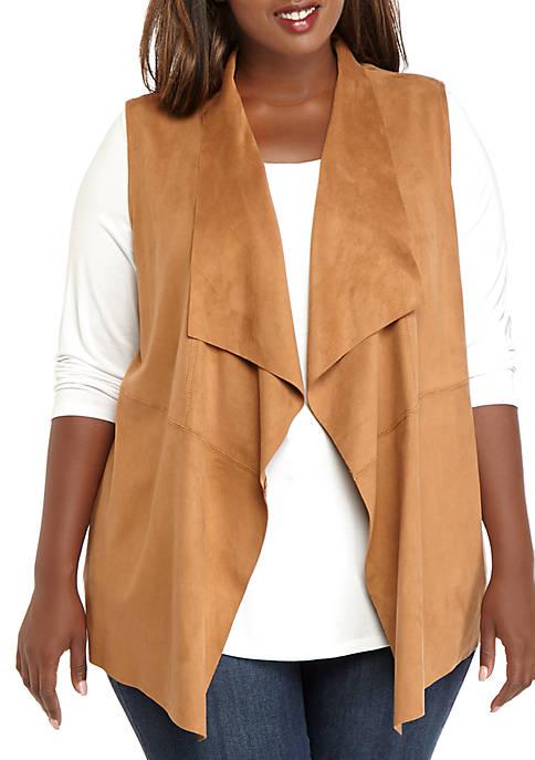 Plus Size Short Faux Suede Swing Vest