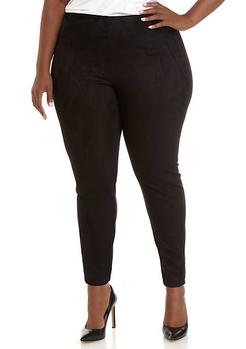 Plus Size Seamed Faux Suede Leggings