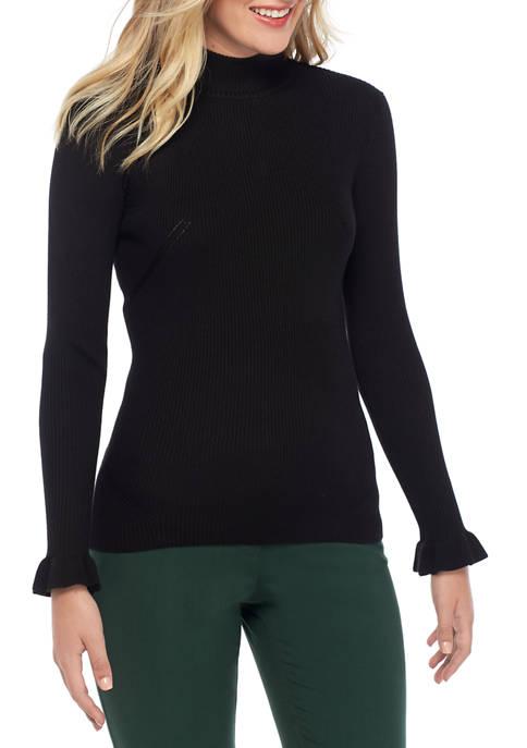 Womens Ruffle Sleeve Rib Turtleneck Sweater