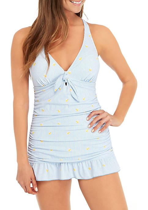 Lemon Drop Stripe One Piece Swim Dress