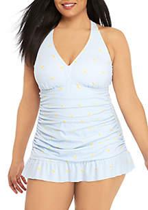 Crown & Ivy™ Plus Size Stripe Lemon Drop One Piece Swim Dress