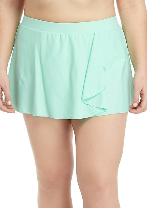 Crown & Ivy™ Plus Size Solid Swim Skirt