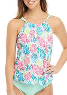Crown & Ivy™ Pineapple Wave High Neck Swim Tankini
