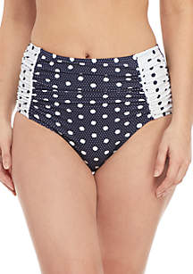 Crown & Ivy™ Double Dots High Waist Swim Bottom