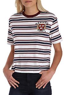 Short Sleeve Baby Tees Striped Harvard Top