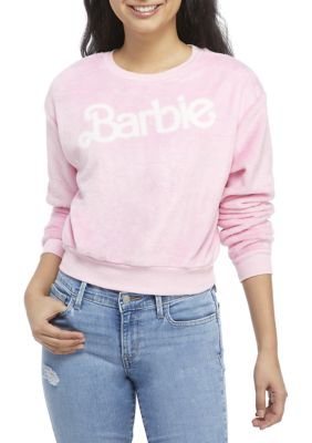 Barbie Womens Juniors Long Sleeve Fleece Graphic Pullover