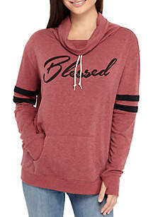 Cold Crush Cowl Neck Blessed Graphic Sweatshirt