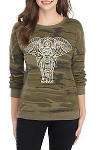 Camo Elephant Screen Print Sweatshirt
