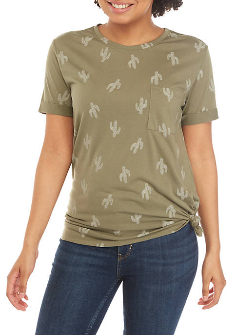 Short Sleeve Tie Front Graphic Top