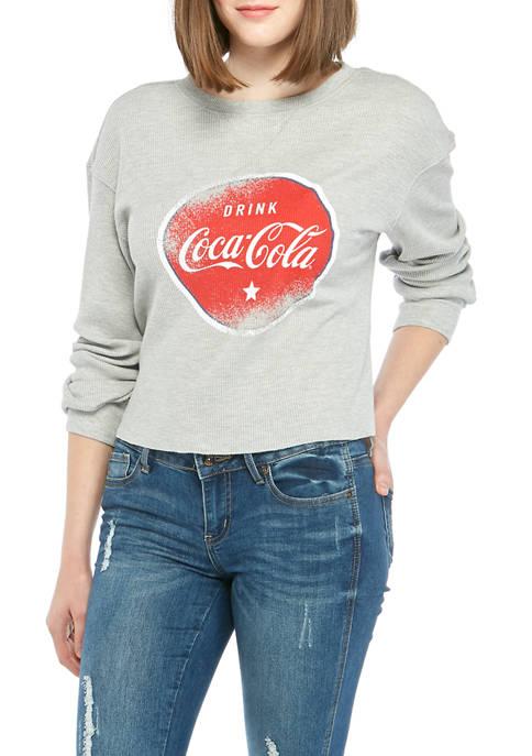 Juniors Long Sleeve Thermal Coke Graphic T-Shirt
