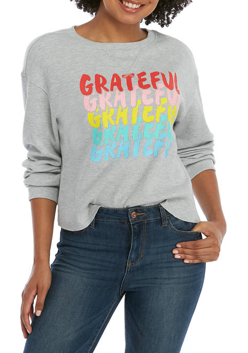 Cold Crush Juniors Long Sleeve Grateful Thermal Graphic